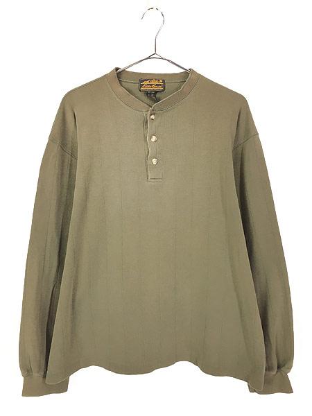 [1] 古着 80s Eddie Bauer 黒タグ 針抜き 100%コットン ヘンリーネック 長袖 Tシャツ ロンT L 古着