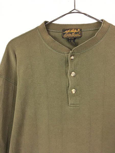 [2] 古着 80s Eddie Bauer 黒タグ 針抜き 100%コットン ヘンリーネック 長袖 Tシャツ ロンT L 古着