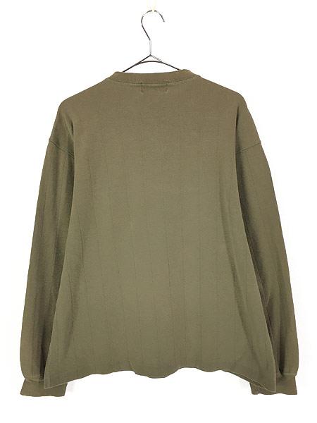[3] 古着 80s Eddie Bauer 黒タグ 針抜き 100%コットン ヘンリーネック 長袖 Tシャツ ロンT L 古着