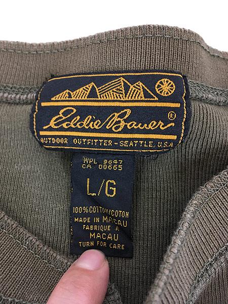 [5] 古着 80s Eddie Bauer 黒タグ 針抜き 100%コットン ヘンリーネック 長袖 Tシャツ ロンT L 古着