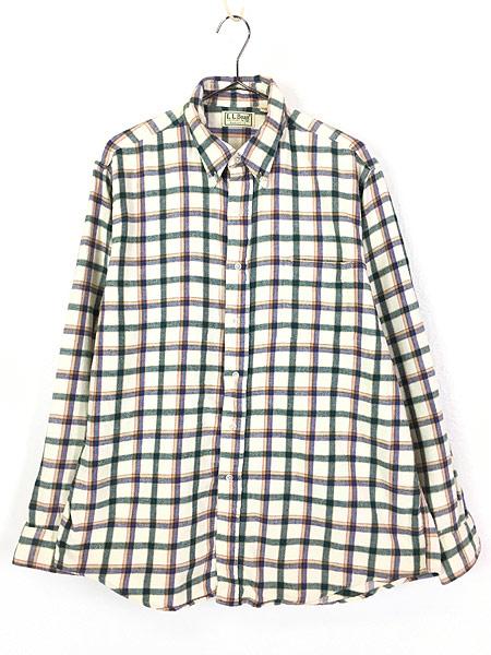 [1] 古着 80s USA製 LL Bean ホワイト チェック ボタンダウン フランネル シャツ ネルシャツ L 古着
