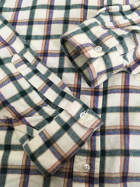 [4] 古着 80s USA製 LL Bean ホワイト チェック ボタンダウン フランネル シャツ ネルシャツ L 古着