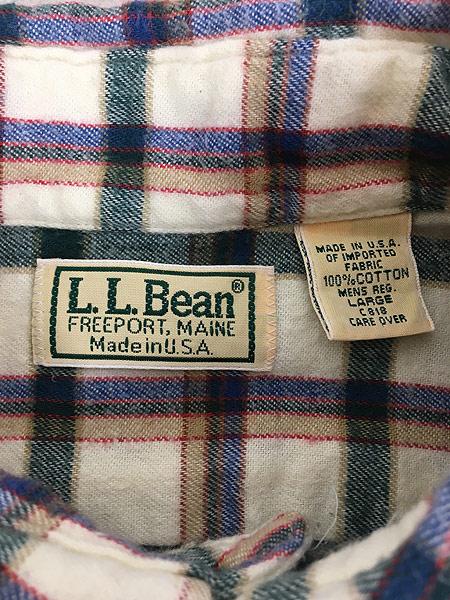 [5] 古着 80s USA製 LL Bean ホワイト チェック ボタンダウン フランネル シャツ ネルシャツ L 古着
