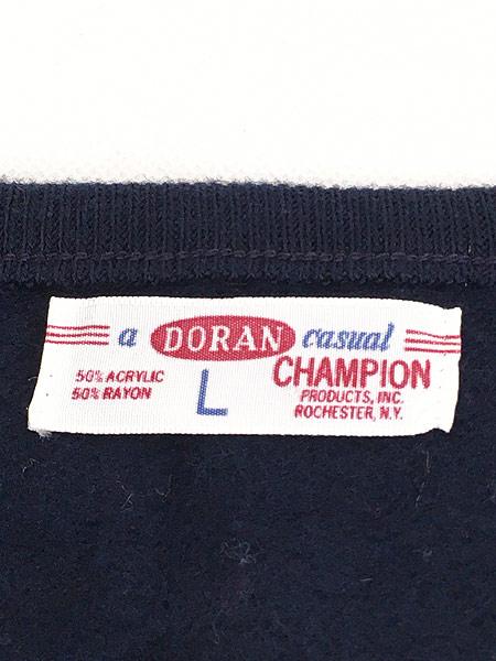 [5] 古着 60s Champion × DORAN フロッキー プリント アクリル レーヨン ニット セーター L 古着