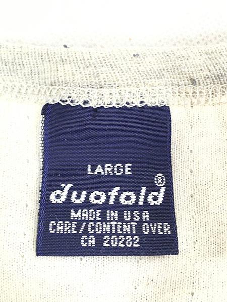 [5] 古着 80s USA製 duofold 2レイヤー サーマル カットソー トップス 霜降り L 古着�