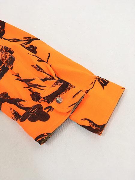 [4] 古着 90s USA製 Cabelas 蛍光 リアルツリー カモ 迷彩 異素材 ポリエステル シャツ L 古着
