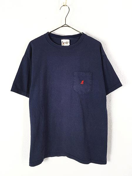 [1] 古着 90s USA製 Disney Mickey ミッキー キャラクター ワンポイント ポケット Tシャツ ポケT L 古着
