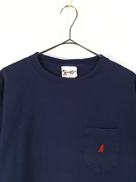 [2] 古着 90s USA製 Disney Mickey ミッキー キャラクター ワンポイント ポケット Tシャツ ポケT L 古着
