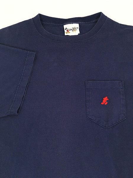 [4] 古着 90s USA製 Disney Mickey ミッキー キャラクター ワンポイント ポケット Tシャツ ポケT L 古着