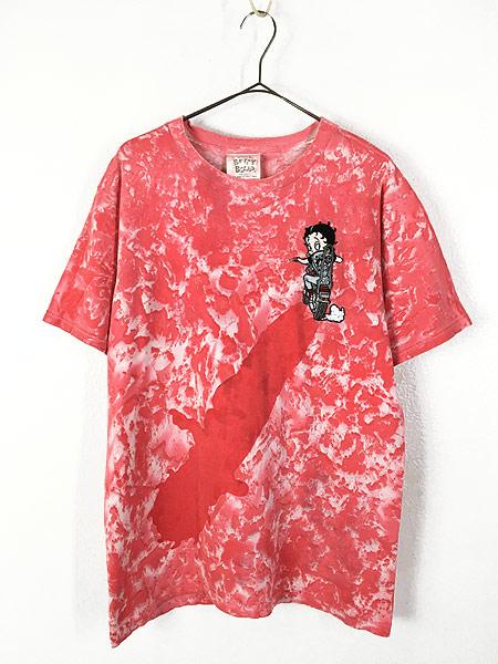 [1] 古着 90s USA製 BETTY BOOP ベティ モーターサイクル ワッペン タイダイ キャラクター Tシャツ L 古着