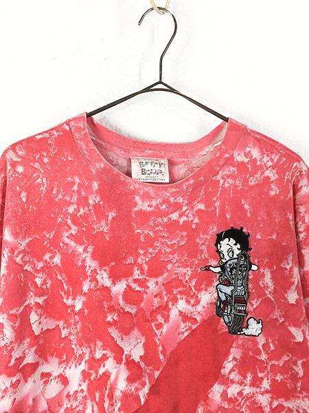 [2] 古着 90s USA製 BETTY BOOP ベティ モーターサイクル ワッペン タイダイ キャラクター Tシャツ L 古着