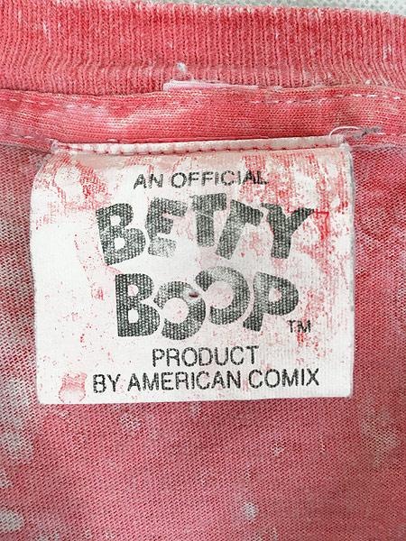 [6] 古着 90s USA製 BETTY BOOP ベティ モーターサイクル ワッペン タイダイ キャラクター Tシャツ L 古着