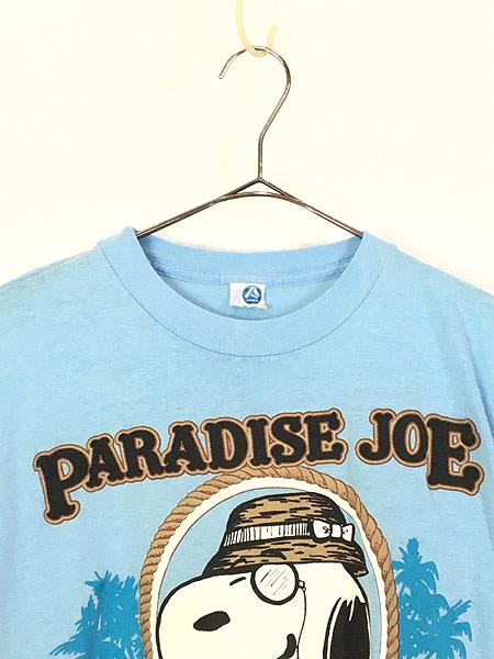 [2] 古着 80s USA製 ARTEX SNOOPY スヌーピー 「PARADISE JOE」 冒険家 キャラクター Tシャツ M 古着