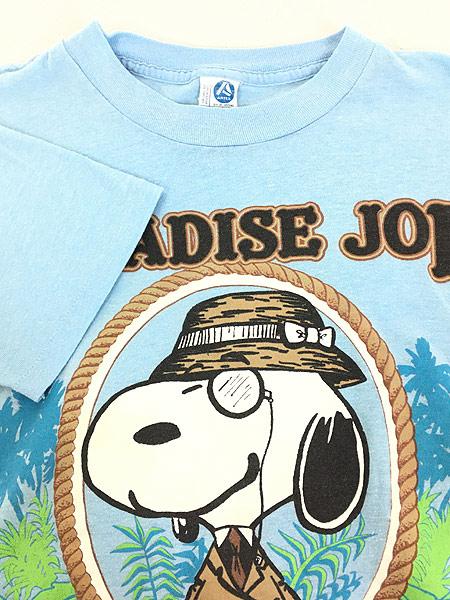 [4] 古着 80s USA製 ARTEX SNOOPY スヌーピー 「PARADISE JOE」 冒険家 キャラクター Tシャツ M 古着