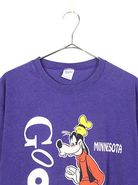 [2] 古着 90s USA製 Disney Goofy グーフィー キャラクター ボーダー Tシャツ L 古着