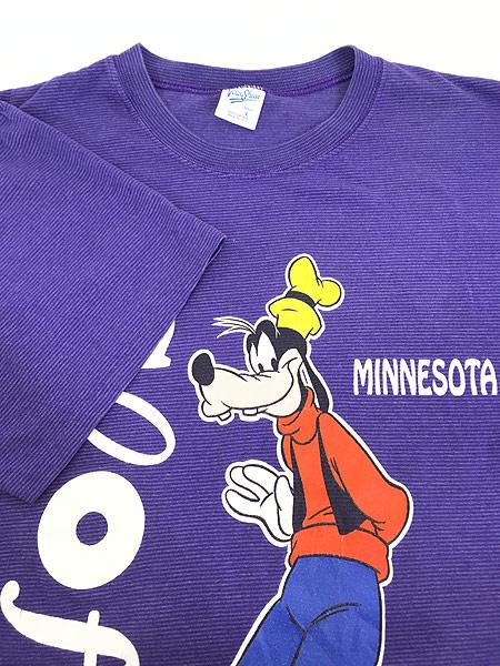 [4] 古着 90s USA製 Disney Goofy グーフィー キャラクター ボーダー Tシャツ L 古着