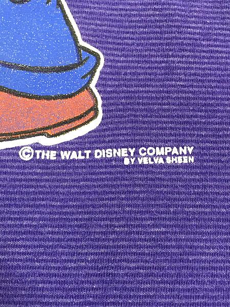 [5] 古着 90s USA製 Disney Goofy グーフィー キャラクター ボーダー Tシャツ L 古着