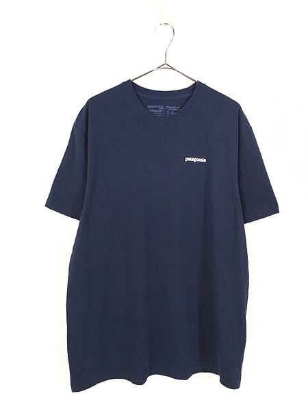 [1] 古着 18s Patagonia フィッツロイ バック ロゴ 両面 プリント Tシャツ 紺 XL 古着