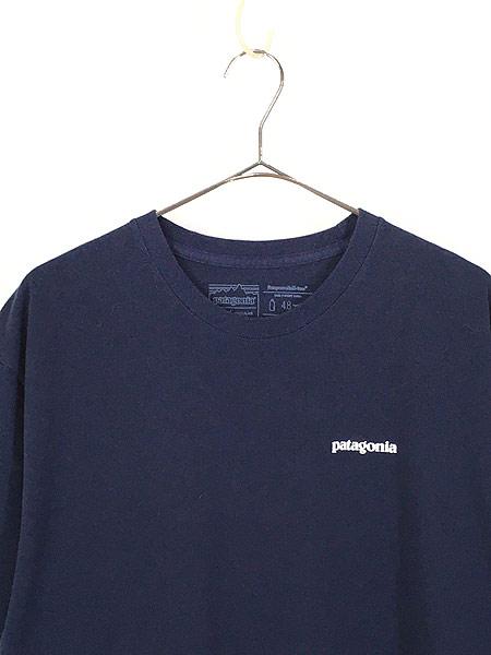 [2] 古着 18s Patagonia フィッツロイ バック ロゴ 両面 プリント Tシャツ 紺 XL 古着