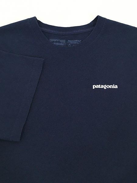 [4] 古着 18s Patagonia フィッツロイ バック ロゴ 両面 プリント Tシャツ 紺 XL 古着