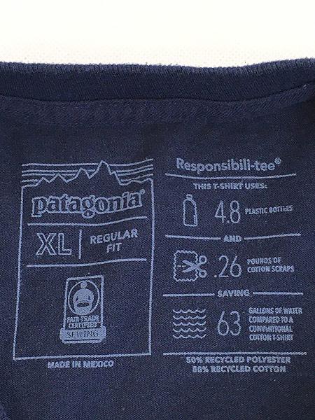[5] 古着 18s Patagonia フィッツロイ バック ロゴ 両面 プリント Tシャツ 紺 XL 古着