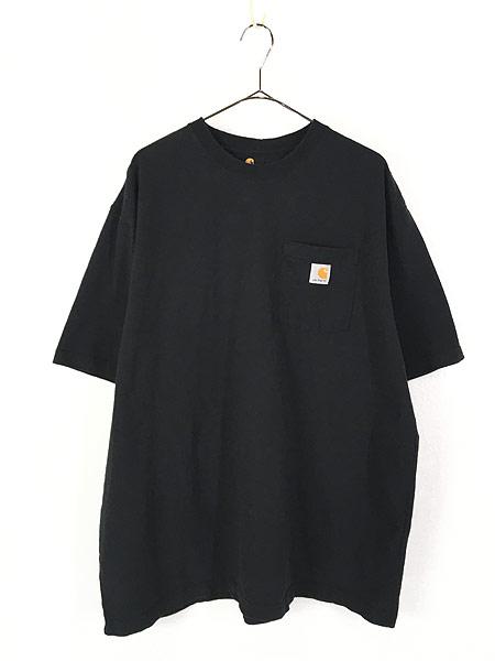 [1] 古着 Carhartt ワンポイント 100%コットン ポケット Tシャツ ポケT 黒 XL 古着