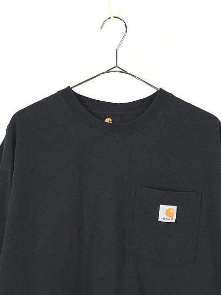 [2] 古着 Carhartt ワンポイント 100%コットン ポケット Tシャツ ポケT 黒 XL 古着