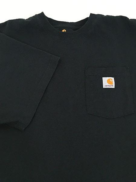 [4] 古着 Carhartt ワンポイント 100%コットン ポケット Tシャツ ポケT 黒 XL 古着