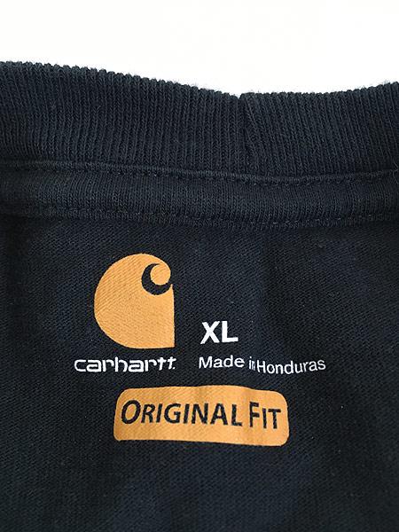 [5] 古着 Carhartt ワンポイント 100%コットン ポケット Tシャツ ポケT 黒 XL 古着