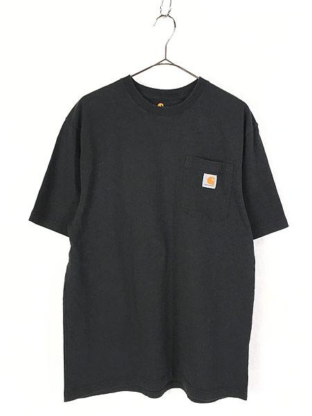 [1] 古着 Carhartt ワンポイント & バック プリント ポケット Tシャツ ポケT 黒 M 古着