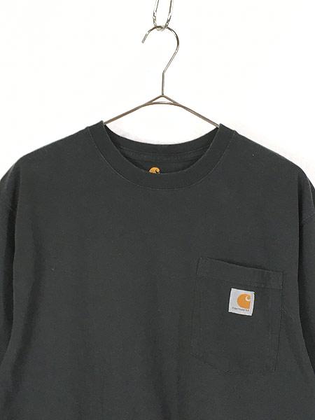 [2] 古着 Carhartt ワンポイント & バック プリント ポケット Tシャツ ポケT 黒 M 古着