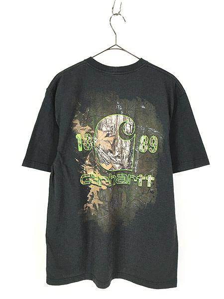 [3] 古着 Carhartt ワンポイント & バック プリント ポケット Tシャツ ポケT 黒 M 古着