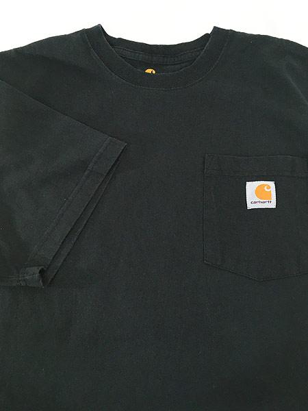 [4] 古着 Carhartt ワンポイント & バック プリント ポケット Tシャツ ポケT 黒 M 古着