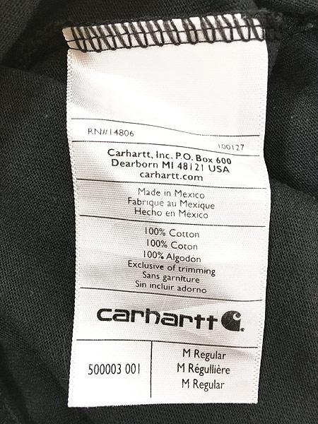[5] 古着 Carhartt ワンポイント & バック プリント ポケット Tシャツ ポケT 黒 M 古着