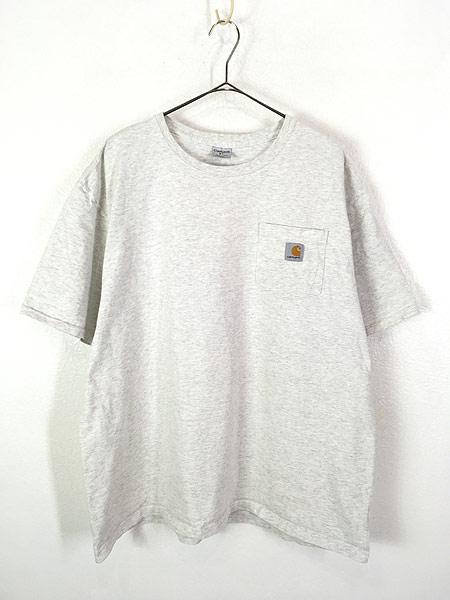 [1] 古着 Carhartt ワンポイント 霜降り ポケット Tシャツ ポケT XL 古着