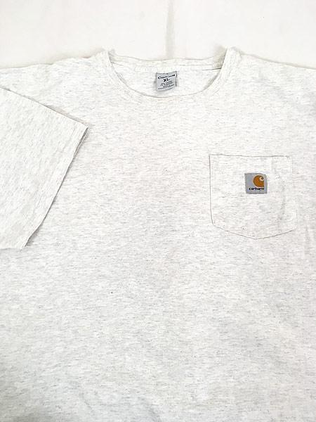 [3] 古着 Carhartt ワンポイント 霜降り ポケット Tシャツ ポケT XL 古着