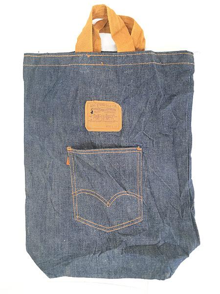 [1] 雑貨 古着 70s USA製 Levi's リーバイス 濃紺 デニム ハンド バッグ 中型 雑貨 古着