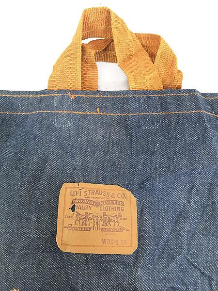 [2] 雑貨 古着 70s USA製 Levi's リーバイス 濃紺 デニム ハンド バッグ 中型 雑貨 古着