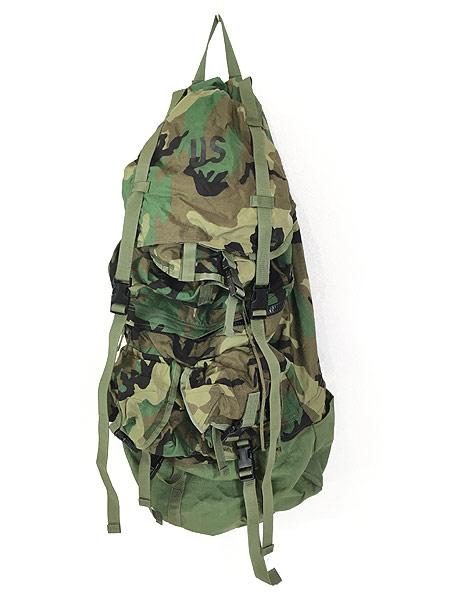 [1] 雑貨 古着 90s 米軍 「Crewman's Equipment」 迷彩 ナイロン リュックサック バックパック 大型 雑貨 古着