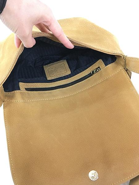 [7] 雑貨 古着 OLD COACH コーチ 本革 レザー フラップ ショルダー バッグ 中型 古着
