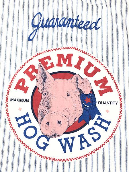 [4] 雑貨 古着 「HOG WASH」BIG 両面 ヒッコリー ストライプ 巾着型 ランドリー バッグ 大型 古着
