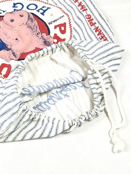 [6] 雑貨 古着 「HOG WASH」BIG 両面 ヒッコリー ストライプ 巾着型 ランドリー バッグ 大型 古着