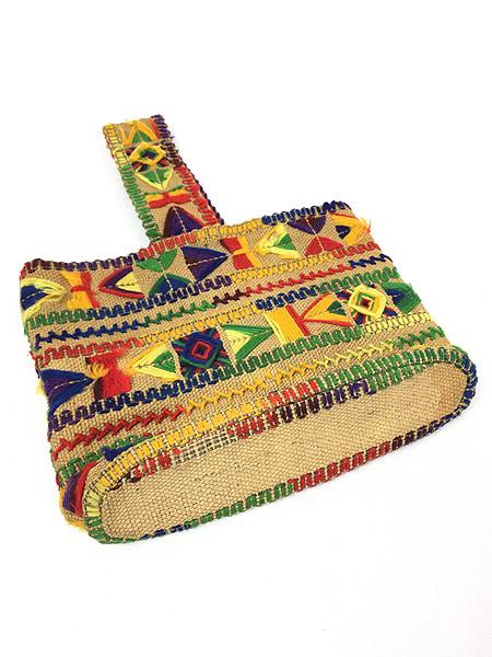 [2] 雑貨 古着 70s 民族調 総柄 毛糸 刺しゅう ハンド メイド ハンド バッグ 小型 古着