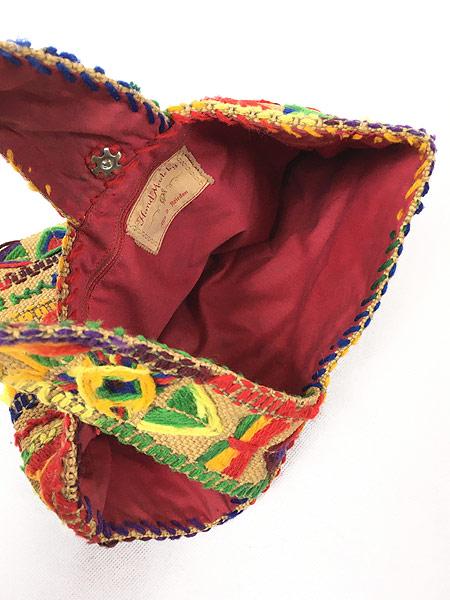 [5] 雑貨 古着 70s 民族調 総柄 毛糸 刺しゅう ハンド メイド ハンド バッグ 小型 古着