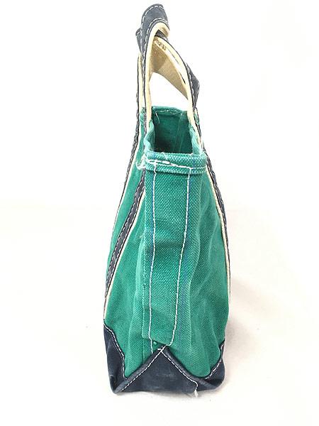 [3] 雑貨 古着 70-80s USA製 LL Bean 「Boat and Tote」 グリーン キャンバス トート バッグ 中型 古着