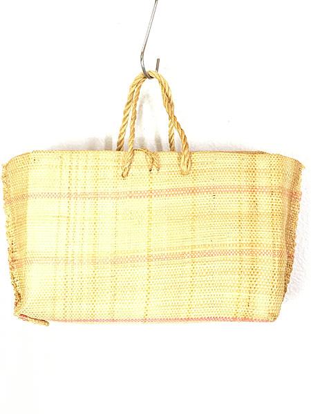 [2] 雑貨 古着 エスニック 花 フラワー 編み込み かご トート ハンド バッグ 中型 古着