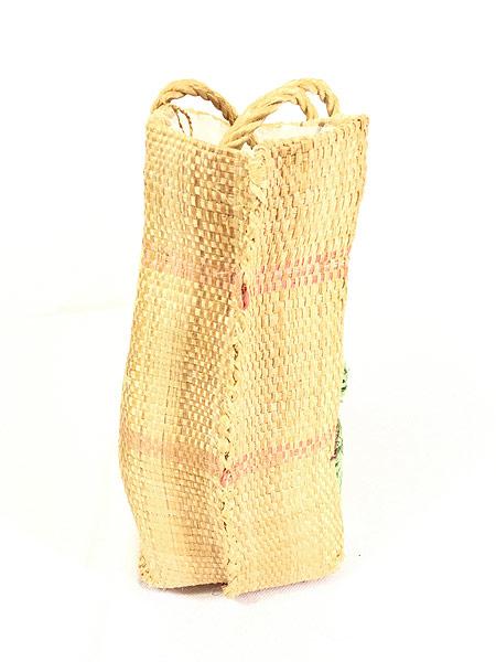 [3] 雑貨 古着 エスニック 花 フラワー 編み込み かご トート ハンド バッグ 中型 古着