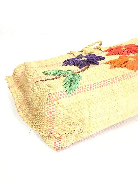 [4] 雑貨 古着 エスニック 花 フラワー 編み込み かご トート ハンド バッグ 中型 古着