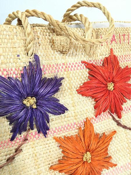 [5] 雑貨 古着 エスニック 花 フラワー 編み込み かご トート ハンド バッグ 中型 古着