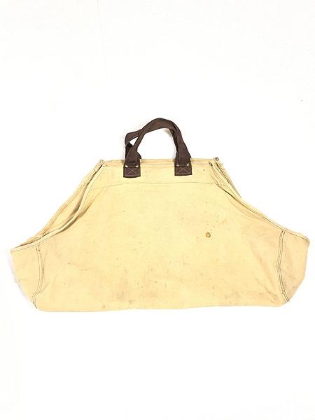 [1] 雑貨 古着 70-80s オールド ブラウン ダック キャンバス ツール トート バッグ 大型 古着